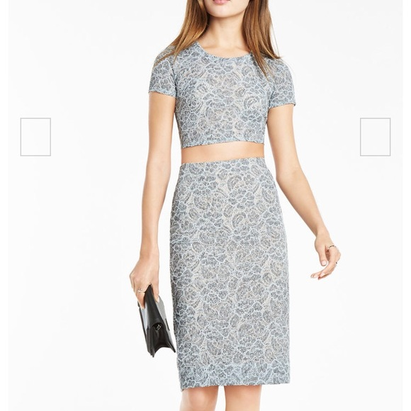 BCBG Dresses & Skirts - BCBG Blue Lace Two Piece Dress Top/Skirt Set